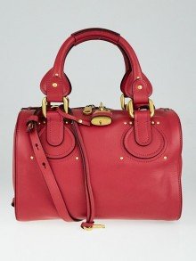 Chloe Red Calfskin Leather Aurore Small Duffel Bag