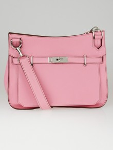 Hermes 28cm Rose Confetti Swift Leather Palladium Plated Jypsiere Bag