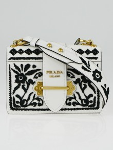 Prada Black/White Embroidered Leather Cahier Bag 1BD045