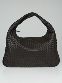 Bottega Veneta Espresso Intrecciato Woven Nappa Leather Large Veneta Hobo Bag