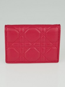 Christian Dior Fuchsia Cannage Quilted Leather Card Case Wallet