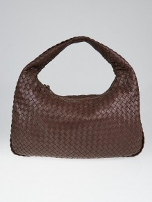 Bottega Veneta Dark Bramble Intrecciato Woven Leather Medium Veneta Hobo Bag
