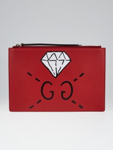 Gucci Red Leather Ghost Pochette Bag