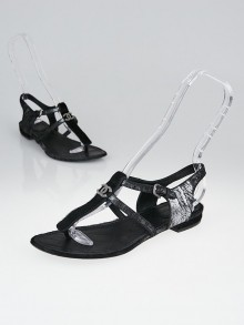 Chanel Grey Metallic Leather and Black Pony Hair CC T-Strap Thong Sandals Size 6/36.5