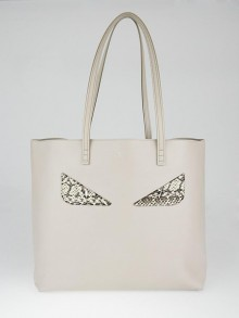Fendi Taupe Leather and Elaphe Trim Monster Shopping Tote Bag