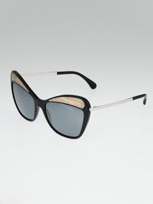 Chanel Black Acetate Butterfly Runway Sunglasses 5377