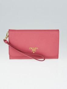 Prada Pink Saffiano Metal Leather Zip Wristlet Wallet