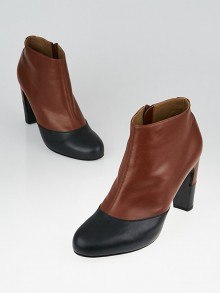 Hermes Brown/Black Leather Ankle Booties Size 9.5/40