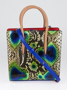 Christian Louboutin Peacock Print Python and Leather Small Paloma Tote Bag