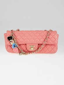 Chanel Pink Quilted Lambskin Leather East/West Valentine Flap Bag