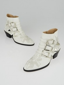Chloe White Leather Studded Susanna Ankle Boots Size 7/37.5