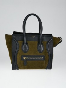 Celine Olive Green/Black Leather/Suede Micro Luggage Tote Bag