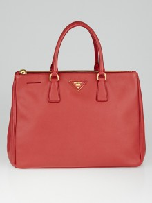 Prada Red Saffiano Lux Leather Double Zip Large Tote Bag BN1786
