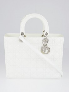 Christian Dior White Cannage Quilted Patent Leather Large Lady Dior Bag