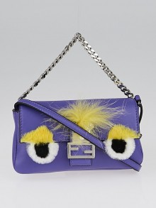 Fendi Purple Lambskin Leather and Fox Fur Micro Buggie Baguette Bag 8M0354