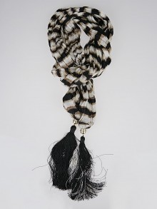 Louis Vuitton Black/White/Brown Zebra Stripe Tassel Scarf