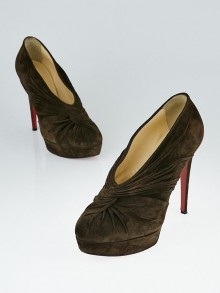 Christian Louboutin Brown Suede Fastwist 140 Ankle Boots Size 11.5/42