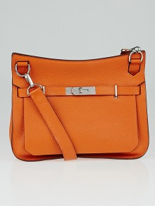 Hermes 28cm Orange Clemence Leather Palladium Plated Jypsiere Bag