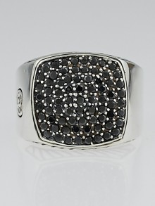 David Yurman Sterling Silver and Pave Black Diamond Signet Ring Size 8.5