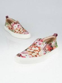 Gucci Pink Blooms Print Leather Slip-On Sneakers Size 7.5/38