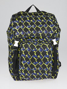 Prada Cobalto Tessuto Stampato Nylon Backpack Bag V135