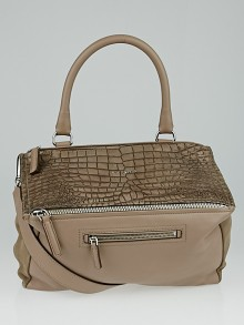Givenchy Taupe Crocodile Stamped and Suede Leather Medium Pandora Bag