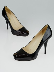 Prada Purple Patent Leather Peep-Toe Pumps Size 5.5/36