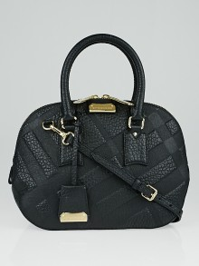 Burberry Black Signature Grained Check Leather Small Orchard Satchel Bag