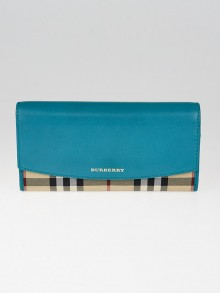 Burberry Teal Leather Haymarket Check Porter Continental Wallet