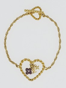 Louis Vuitton Goldtone Monogram Sweet Charm Heart Bracelet