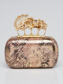 Alexander McQueen Gold/Brown Python Knuckle Clutch Bag