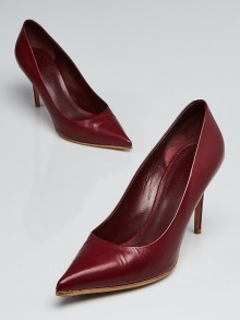 Celine Burgundy Leather Pointed Toe Pumps Size 7.5/38