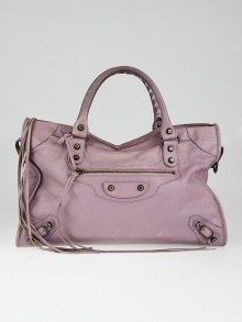 Balenciaga Lilac Lambskin Leather Motorcycle City Bag