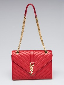 Yves Saint Laurent Red Chevron Quilted Lambskin Leather Monogram Medium Flap Bag