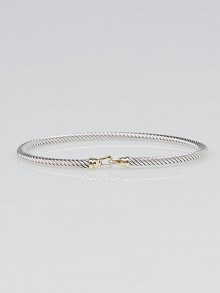 David Yurman 3mm Sterling Silver and 18k Gold Cable Buckle Bracelet