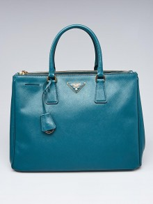 Prada Teal Saffiano Lux Leather Double Zip Large Tote Bag BN1786