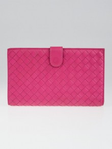 Bottega Veneta Pink Intrecciato Woven Nappa Leather Continental Wallet