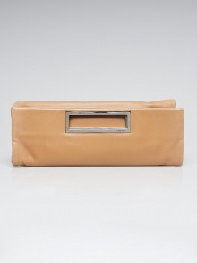 Yves Saint Laurent Beige Leather Foldover Clutch Bag