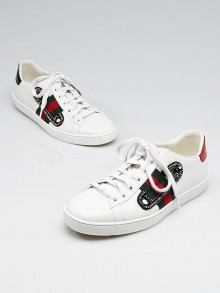 Gucci White Leather Ace Embroidered Sneakers Size 6.5/37
