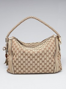 Gucci Beige/Gold GG Canvas Medium Bella Hobo Bag