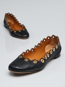 Chloe Black Leather Scalloped Grommet Ballerina Flats Size 7.5/38