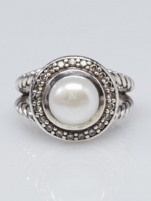 David Yurman Pearl and Diamond Albion Ring Size 4