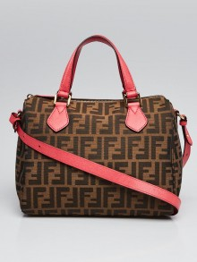 Fendi Tobacco Zucca Print Canvas Medium Boston Bag 8BL121