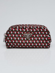Prada Multicolor Print Nylon Cosmetic Bag