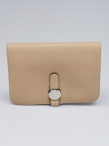Hermes Trench Clemence Leather Palladium Plated Dogon Wallet