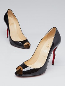 Christian Louboutin Black Patent Leather Jolly B 100 Peep Toe Pumps Size 8/38.5