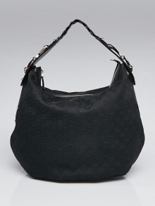 Gucci Black GG Canvas Medium Pelham Hobo Bag