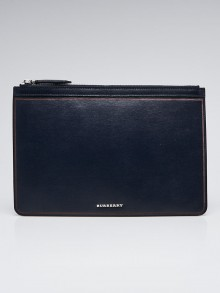 Burberry Navy Blue Leather Zip Pouch