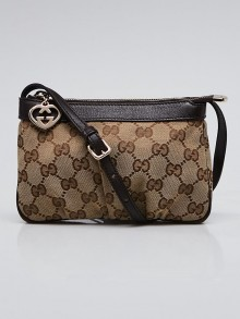 Gucci Beige/Ebony GG Canvas Leather Heart Charm Pochette Bag