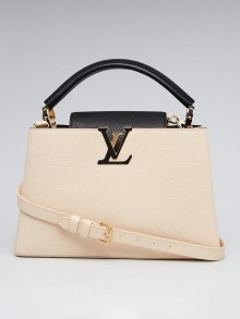 Louis Vuitton Black/Cream Taurillon Leather Capucines PM Bag